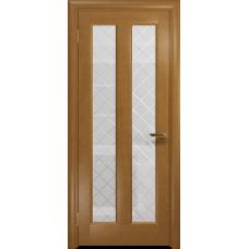 Ульяновская дверь Тесей анегри стекло белое с гравировкой «решетка»