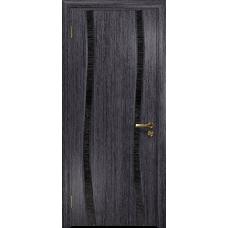 Ульяновская дверь Грация-2 абрикос стекло триплекс черный с тканью
