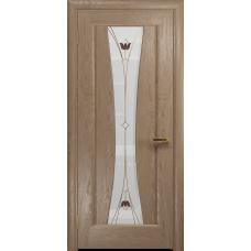 Ульяновская дверь Соната-1 дуб стекло витраж «тюльпан»