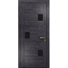 Ульяновская дверь Ронда-1 абрикос стекло триплекс черный с тканью