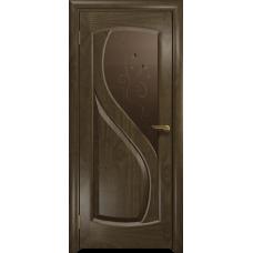 Ульяновская дверь Диона-1 американский орех стекло бронзовое пескоструйное «лилия»