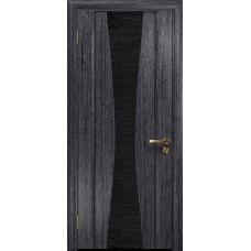 Ульяновская дверь Соната-2 абрикос стекло триплекс черный с тканью