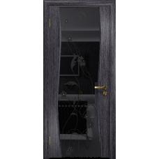 Ульяновская дверь Грация-3 абрикос стекло триплекс черный «вьюнок» глянцевый