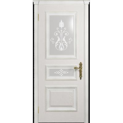 Ульяновская дверь Версаль-2 Декор ясень белый стекло белое пескоструйное «версаль-2»