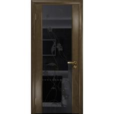 Ульяновская дверь Триумф-3 американский орех стекло триплекс черный «вьюнок» глянцевый