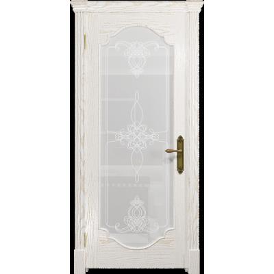Ульяновская дверь Валенсия-2 ясень белый золото стекло белое пескоструйное «валенсия»