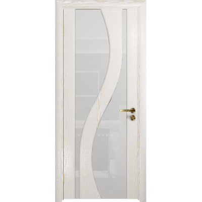 Ульяновская дверь Веста ясень белый золото стекло триплекс белый