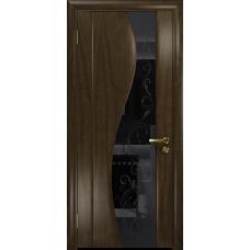 Ульяновская дверь Фрея-2 американский орех тонированный стекло триплекс черный «сабина» глянцевый
