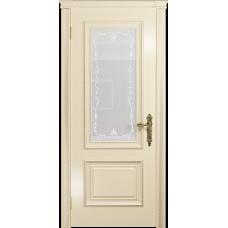 Ульяновская дверь Версаль-1 эмаль слоновая кость стекло белое пескоструйное «версаль-1»