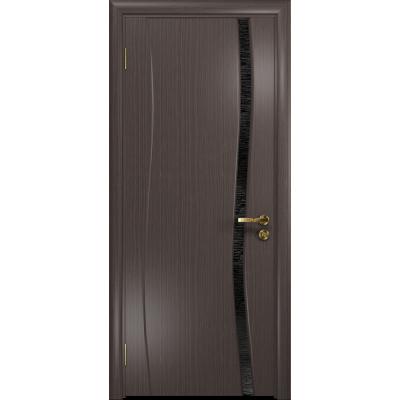 Ульяновская дверь Грация-1 эвкалипт стекло триплекс черный с тканью