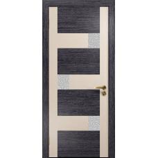 Ульяновская дверь Ронда-2 абрикос/дуб беленый стекло триплекс белый с тканью