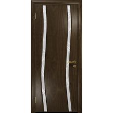 Ульяновская дверь Грация-2 американский орех тонированный стекло триплекс белый 3d «куб»