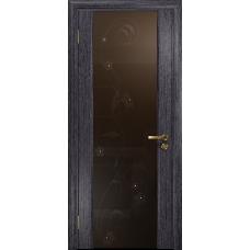 Ульяновская дверь Триумф-3 абрикос стекло триплекс бронзовый «вьюнок» глянцевый