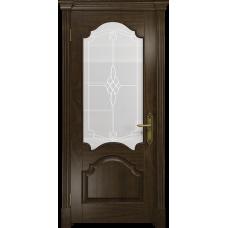Ульяновская дверь Валенсия-1 американский орех тонированный стекло белое пескоструйное «корено»