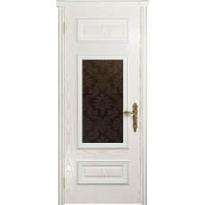 Ульяновская дверь Версаль-4 ясень белый золото стекло бронзовое пескоструйное «ковер»