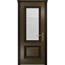 Ульяновская дверь Версаль-1 Декор американский орех стекло белое с гравировкой «кардинал»