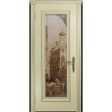Ульяновская дверь Версаль-5 Декор эмаль слоновая кость стекло цифровая фреска