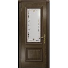 Ульяновская дверь Версаль-1 американский орех стекло белое пескоструйное «версаль-1»