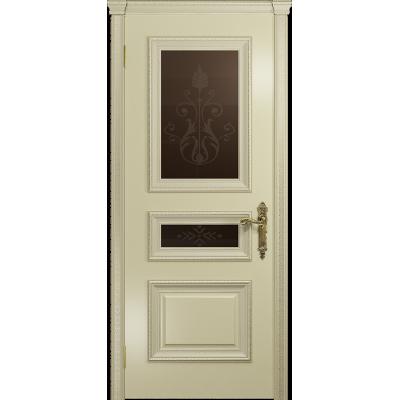 Ульяновская дверь Версаль-2 Декор эмаль слоновая кость стекло бронзовое пескоструйное «версаль-2»