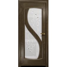 Ульяновская дверь Диона-2 американский орех стекло белое пескоструйное «лилия»