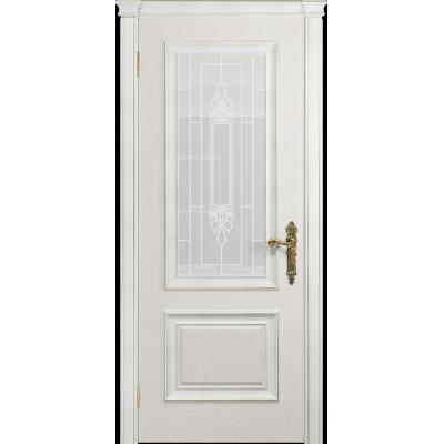 Ульяновская дверь Версаль-1 Декор ясень белый стекло белое пескоструйное «кардинал»