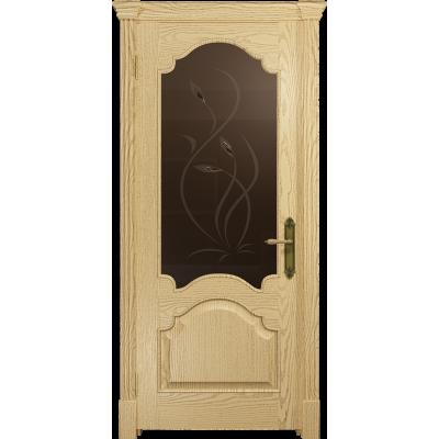 Ульяновская дверь Валенсия-1 ясень ваниль стекло бронзовое пескоструйное «фиор»