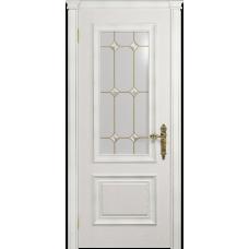 Ульяновская дверь Версаль-1 Декор ясень белый стекло витраж «адель»