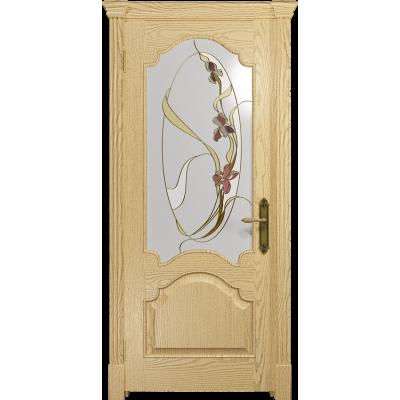 Ульяновская дверь Валенсия-1 ясень ваниль стекло витраж «овал»