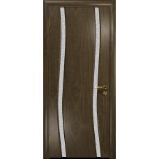 Ульяновская дверь Грация-2 американский орех стекло триплекс белый с тканью