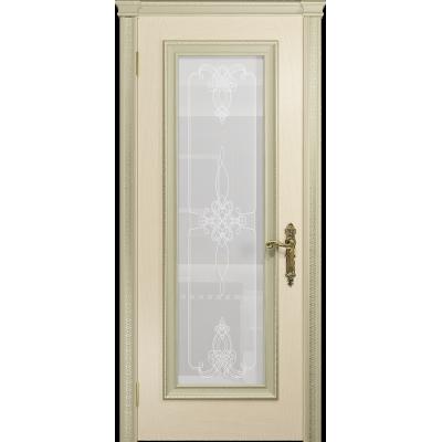 Ульяновская дверь Версаль-5 Декор ясень слоновая кость стекло белое пескоструйное «валенсия»