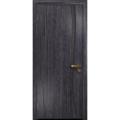 Ульяновская дверь Грация-1 абрикос стекло триплекс черный «вьюнок» матовый