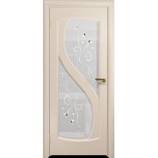 Ульяновская дверь Диона-2 дуб беленый стекло белое пескоструйное «лилия»