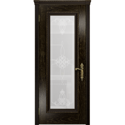 Ульяновская дверь Версаль-5 Декор ясень венге золото стекло белое пескоструйное «валенсия»