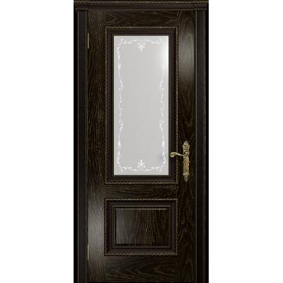 Ульяновская дверь Версаль-1 Декор ясень венге золото стекло белое пескоструйное «версаль-1»