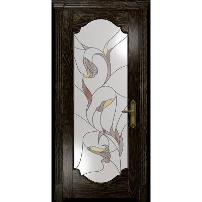 Ульяновская дверь Валенсия-2 ясень венге золото стекло витраж «кампанелла»