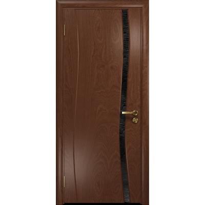 Ульяновская дверь Грация-1 красное дерево стекло триплекс черный с тканью