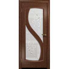 Ульяновская дверь Диона-2 красное дерево стекло белое пескоструйное «лилия»
