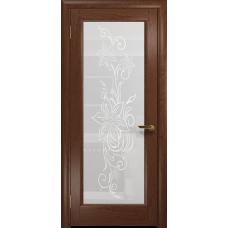 Ульяновская дверь Миланика-1 красное дерево стекло белое пескоструйное «миланика-1»