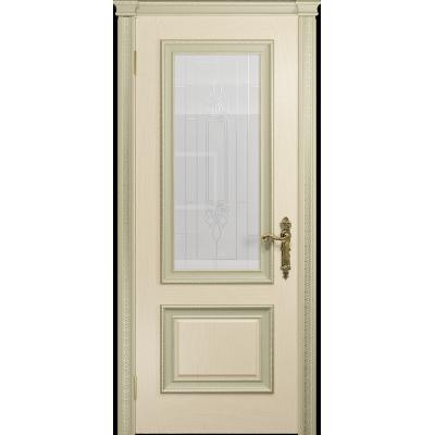 Ульяновская дверь Версаль-1 Декор ясень слоновая кость стекло белое с гравировкой «кардинал»