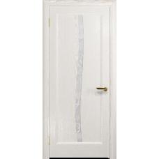Ульяновская дверь Миланика-3 ясень белый золото стекло белое пескоструйное «миланика-3»