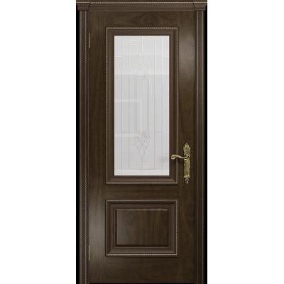 Ульяновская дверь Версаль-1 американский орех тонированный стекло белое с гравировкой «кардинал»