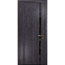Ульяновская дверь Триумф-1 абрикос стекло триплекс черный «вьюнок» глянцевый
