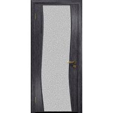 Ульяновская дверь Грация-3 абрикос стекло триплекс белый с тканью