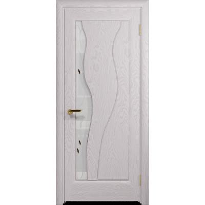 Ульяновская дверь Энжел ясень белый стекло белое пескоструйное «лилия»
