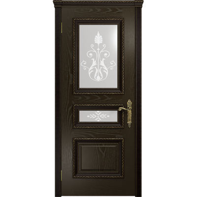 Ульяновская дверь Версаль-2 Декор ясень венге стекло белое пескоструйное «версаль-2»