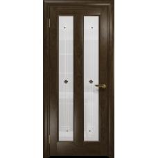 Ульяновская дверь Тесей американский орех тонированный стекло белое пескоструйное «ромб»