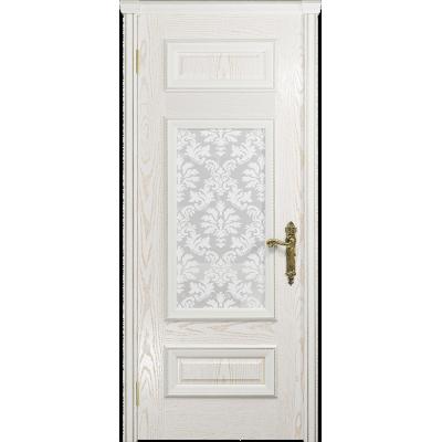 Ульяновская дверь Версаль-4 ясень белый золото стекло белое пескоструйное «ковер»