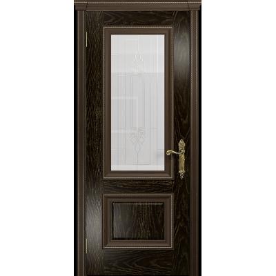 Ульяновская дверь Версаль-1 ясень венге золото стекло белое с гравировкой «кардинал»