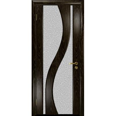 Ульяновская дверь Веста ясень венге золото стекло триплекс белый с тканью