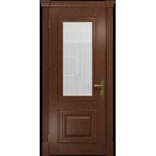 Ульяновская дверь Кардинал красное дерево стекло белое с гравировкой «кардинал»